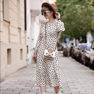 {h&m white label} dotted midi dress